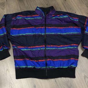 Vintage Striped Full Zip Windbreaker Jacket Medium